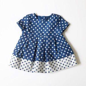 Baby Gap 3-6 mo Blue & White Polka Dot Dress